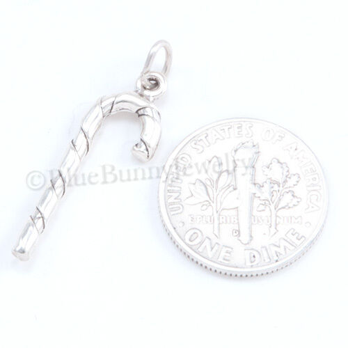 3D Candy Cane Sterling Silver Charm Pendentif Arbre de Noël Vacances 925 .925