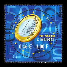 """France 2001 - Introduction of the """"EURO"""" Numismatic Coin - Sc 2830 MNH"""