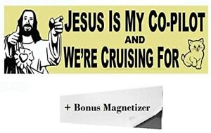 """""""Jesus Is My Co-Pilot"""" Funny Adult Magnetic Bumper Sticker by Witty Yeti"""