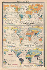 1936 MAP ~ WORLD RAINFALL JANUARY & JULLY MEAN ANNUAL PREVAILING ...