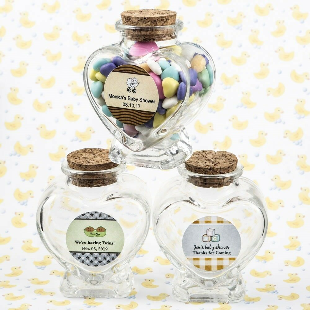40 Personalized Heart Candy Jars Baby Shower Christening Party Gift Favors