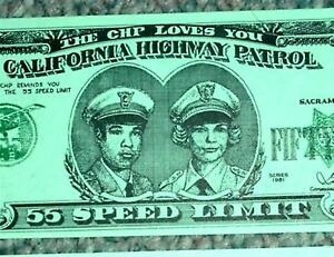 California-Highway-Patrol-CHP-55-Dollar-Bill-1981-Speed-Limit-Original-Art-Print