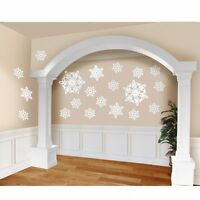 Pack of 20 White Glittered Snowflake Cut Outs - Christmas Party Decorations