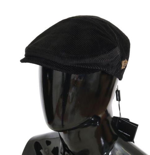NEW $350 DOLCE /& GABBANA Hat Black Cotton Corduroys Gold Crown Newsboy Cap 57//S