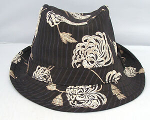 Image is loading Unique-Cassel-Goorin-Floral-Linen-Fedora-Brown-Embroidered- 5f4f9d7c833