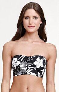 Hurley Swimwear Bustier Crop Top Black And White Flower Size L Ebay
