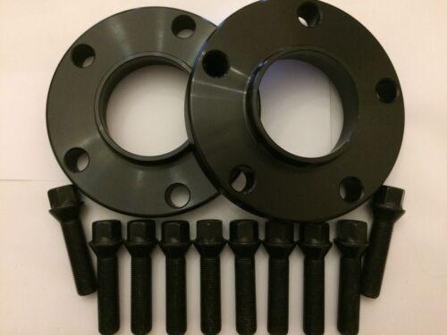 15mm BLACK ALLOY WHEEL SPACERS 10 X 40mm BLACK BOLTS FITS VOLKSWAGEN 5X112 57.