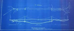Beautiful Image Is Loading Rare Golden Gate Bridge Authentic Blueprint