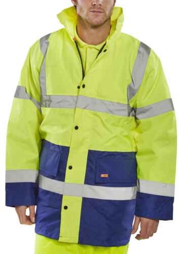 XXL Safety Yellow Royal Blue Traffic Jacket Hooded Zipped Quilted Hi Viz Coat