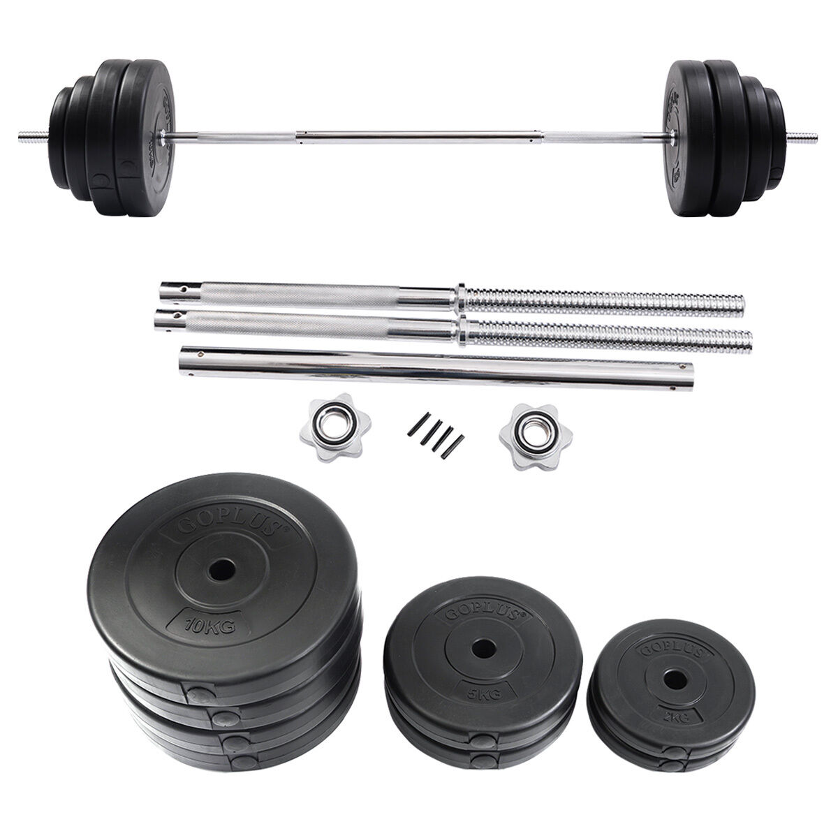 132  LB Barbell Dumbbell Weight Set Gym Lifting Exercise Curl Bar Workout Home  the best after-sale service