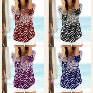Women Autumn Stylish Dot Printed Long-Sleeved T-Shirt Comfortable S-5XL W4M8