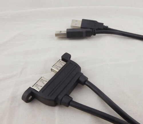 1x 90cm Dual USB 2.0 A Female Socket Panel Mount To 2 USB A Male Extension Cable