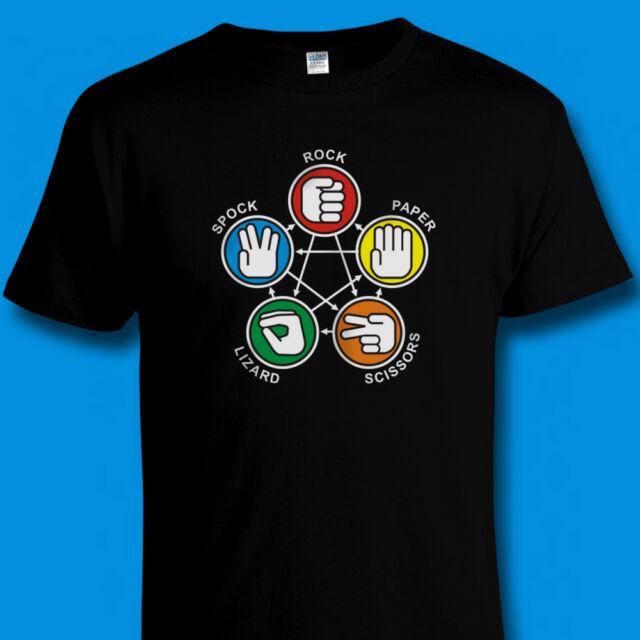 Big Bang Theory Sheldon Rock Paper Scissors Lizard Spock T Shirt SIZES TO 4XL
