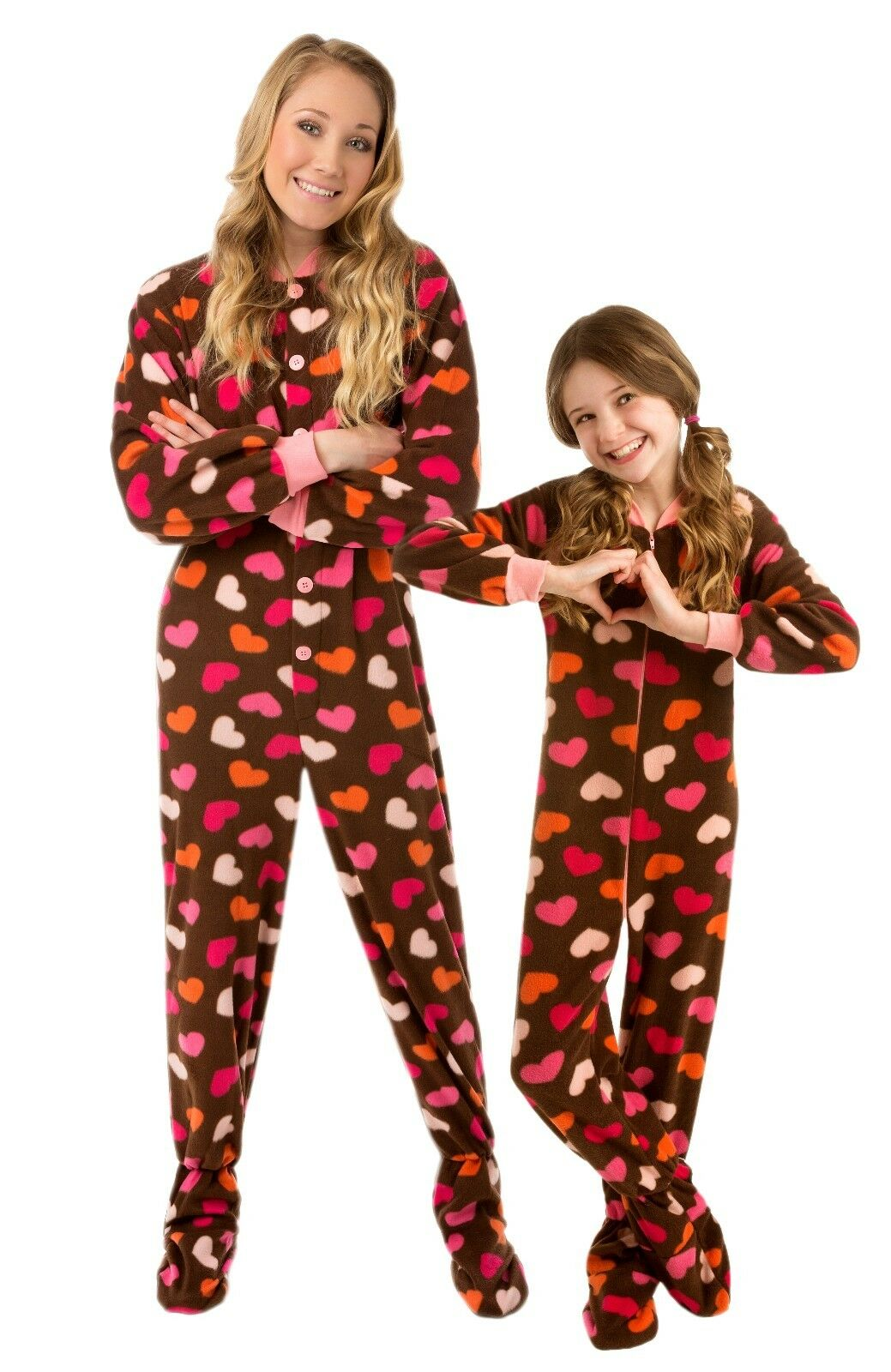 Big Feet PJs Kids Footed Onesie Chocolate Brown With Hearts Footed ... c77d85c13
