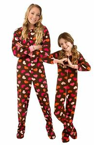 Big Feet Pjs - Brown With Hearts Footed Pajamas - Adult, Kids &amp ...
