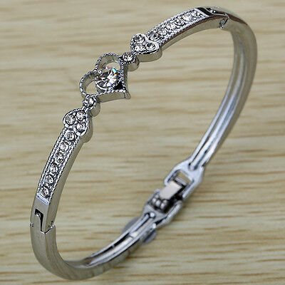 Silver Plated Crystal Cuff Bangle Love Heart Bracelet Snap Closure women jewelry