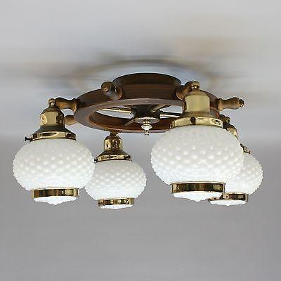 Vtg 21 Nautical Ships Wheel Ceiling Light Chandelier Lamp Fixture Hobnail Shade Ebay