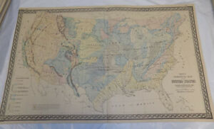 1870s Antique COLOR Map/GEOLOGICAL MAP OF THE UNITED STATES/by Gray ...