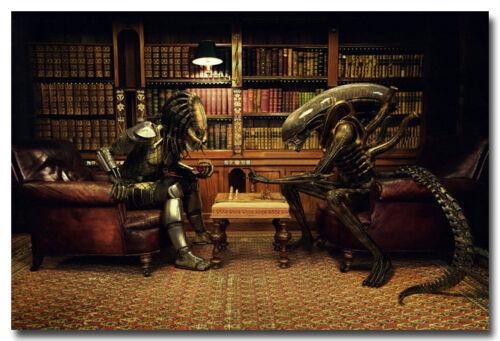 "Alien vs Predator Playing Chess Movie Funny Art Silk Poster 13x20/"" 24x36/"" 001"