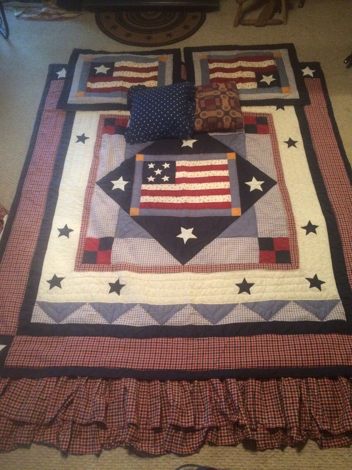 Jc Penny Americana Country Primitive Bedding Set Full Größe Quilt Flag Stars