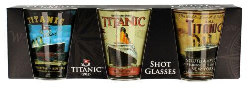 sg Titanic Collectors Vintage Poster Printed Shot Glasses 3pk