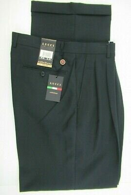Lucci Men/'s Charcoal Dress Pants 2-Pleat Cuffed Polyester Looks Green Size 32-36
