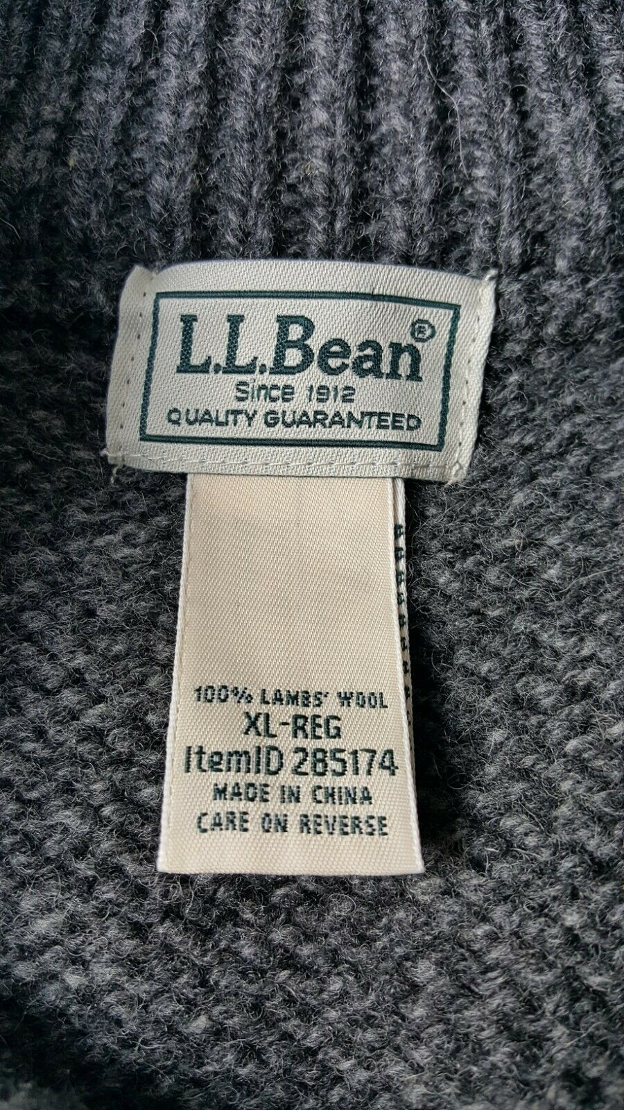LL BEAN XL Wool Leather Button Sweater Gray - image 5