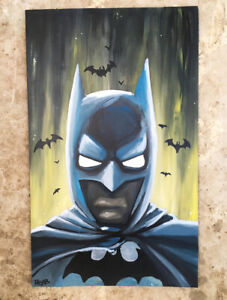 Peinture signée - batman - comics comtemporain graffiti street art tableau