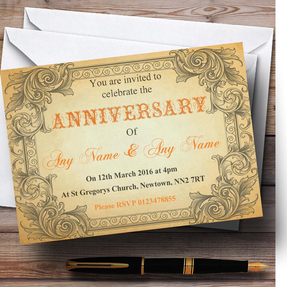 Typographie vintage personnalisées orange carte postale invitations personnalisées vintage Fête Anniversaire 7c8e6f