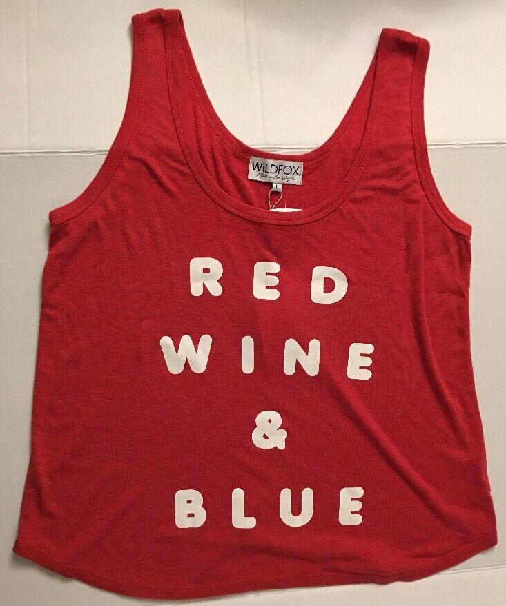 WILDFOX Tank CAMI Top Sleeveless Shirt Printed Red Wine & bluee NWT Knit Sz L