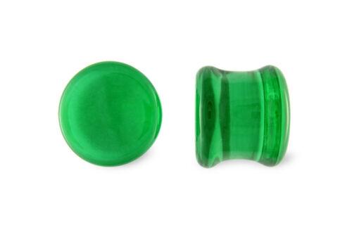Pair Green Soda Lime Glass Flat Plugs Gauges
