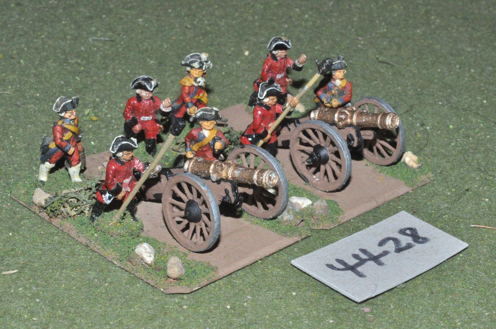 25mm marlburian francés artillería 2 cañones & Crew de metal pintado-arte (4428)
