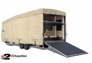 S2-Expedition-Premium-Toy-Hauler-RV-Trailer-Cover-Fits-29-039-30-039-Length-Tan