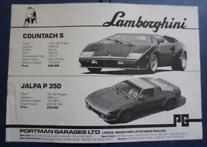 LAMBORGHINI JALPA P350 & COUNTACH S 1982 1983 foglio illustrativo SALES BROCHURE