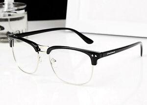 Half Frame Geek Glasses : Fashion Vintage Half Metal Frame Glasses Clear Lens Nerd ...