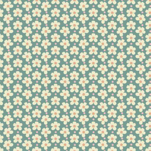 Mermelada de fresa Flores Verde Azulado por Lauren Brewer para Riley Blake cantidad 1 es 1//2
