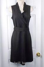 Ann Taylor Women's 4 Stretch Knit Dress Brown Surplice Ruffled Bodice Tie Belt