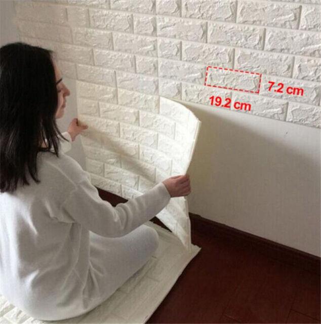 3D Wall Decor Paper Stone Brick Wall Sticker Panel PE Foam Wall Decal Covers