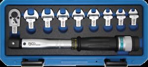 """BGS Drehmomentschlüssel-Satz 6-30 Nm Maulschlüssel 7-14 mm 1//4/"""" Knarre Schlüssel"""