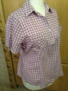 """""""yessica""""damen Bluse Gr.42.mehrfarbig(violett-lavendel-weiß)kariert.2 Taschen."""