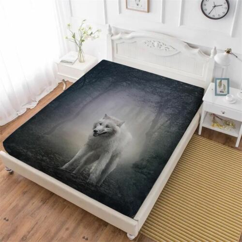 1 Pcs Animal Bed Wolf Sheep Print Fitted Sheet Soft Bedclothes Mattress Cover El