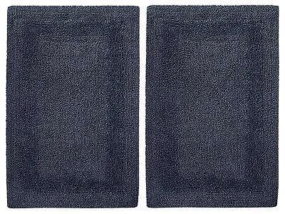 Cotton Craft 2 Piece Reversible Step Out Bath Mat Rug Set