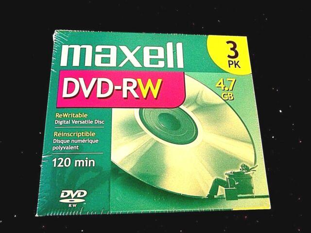 Maxell 3 pack DVD-RW Rewritable Digital Versatile Disc 4.7 GB 120 MIN #635115