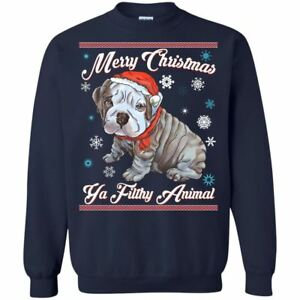 image is loading christmas sweater english bulldog puppy hoodies sweaters