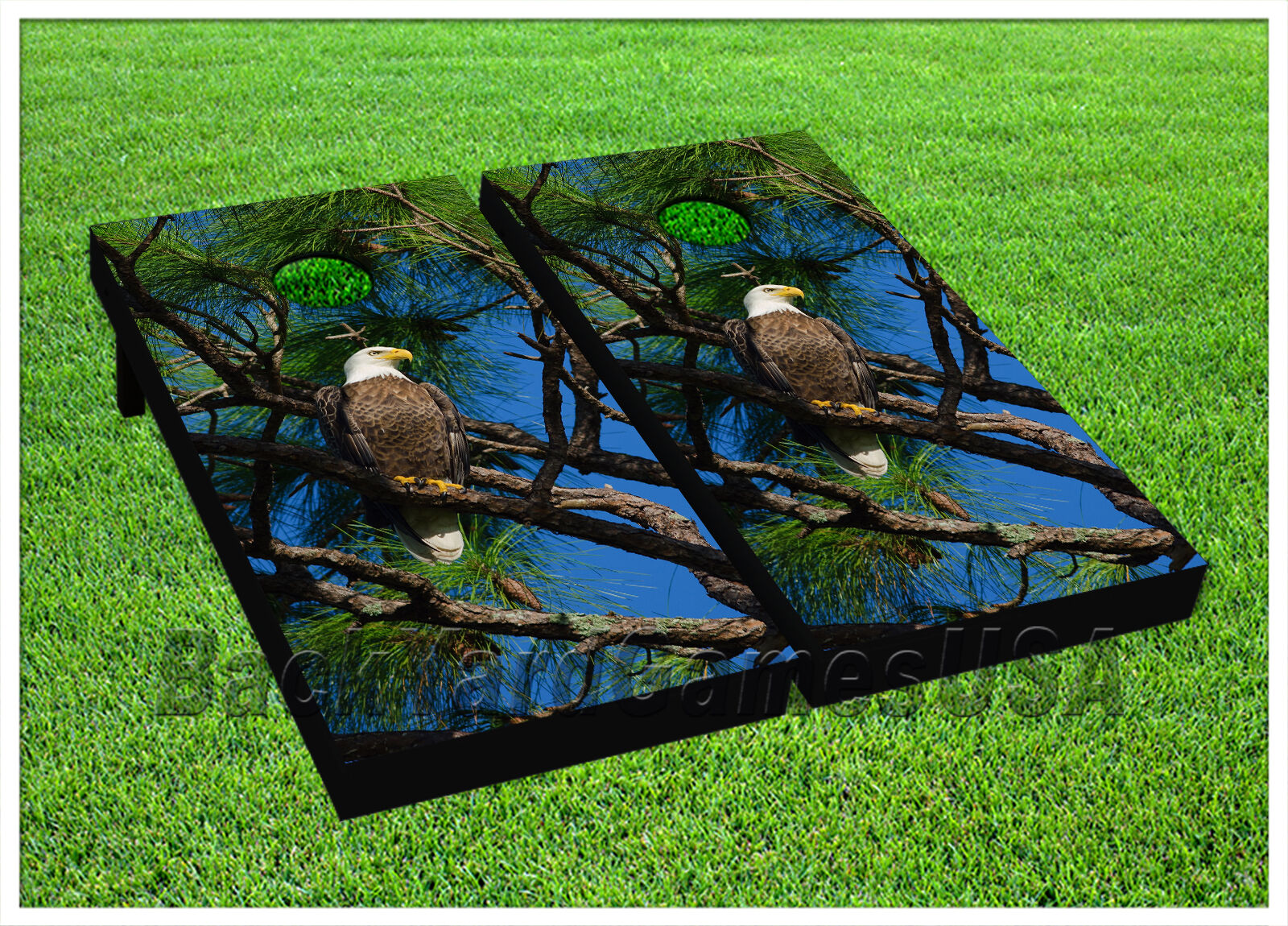 VINYL Patriotic  American Bold Eagle CORNHOLE BEANBAG Boards 1031  on sale