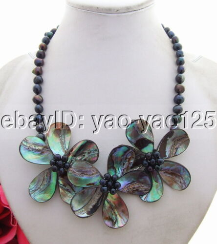 """Black pearl Abalone Shell Necklace handmade Statement necklace 18/"""""""