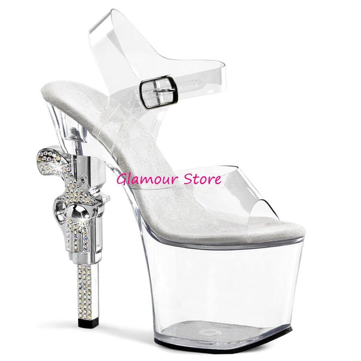 Sexy Sandals Heel Revolver Revolver Revolver 18 CM från 35 till 42 Rhinestones Platform transparent  underbar