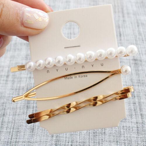 Mode Damen Haarspange Haarnadel Haarklammer Perle Silber Geometrisch Haarschmuck
