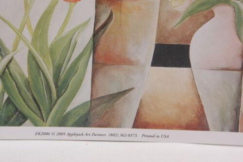 "NEW A204 Tulips Flowers Vase 8 1//2 x 8 1//2/"" Applejack Art 2005 Printed USA"