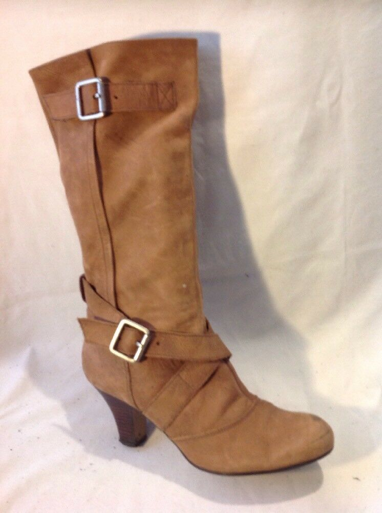 Barratts Brown Mid Calf Leather Boots Size 7